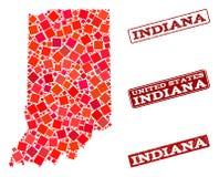 Mosaik-Karte von Indiana State und von strukturierter Schulstempel-Collage lizenzfreie abbildung