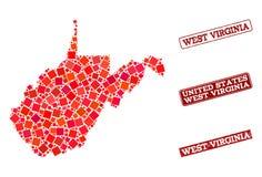 Mosaik-Karte von West-Virginia State und Schuldichtungs-Zusammensetzung beunruhigen lizenzfreie abbildung