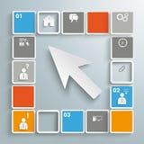 Mosaik-kleine Quadrat-weißer Cursor Infographic Lizenzfreie Stockfotos