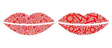 Mosaik-Lächeln-Lippenikonen von Service-Werkzeugen stock abbildung
