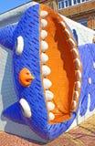 Mosaik- lustiger langer Mietzecharakter mit offenem Mund von Märchen ` Alice in Märchenland ` Design durch Konstantin Skretutsky lizenzfreies stockfoto