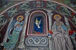 Mosaik med den vita duvan i den Ortodox kyrkan Arkivbilder