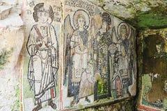 Mosaik på den roman amfiteatern av Durres royaltyfria bilder