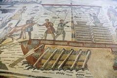 Mosaik på den roman villan i Sicilien Royaltyfria Bilder