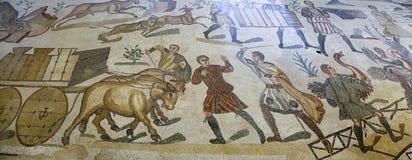 Mosaik på den roman villan i Sicilien royaltyfri fotografi