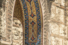 Mosaik på en kyrklig ingång i Aten Arkivbild
