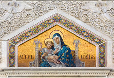 Mosaik på ortodox kyrka för St Spyridon i Trieste Arkivbild