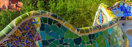 Mosaik på Parcen Guell Barcelona Spanien Arkivfoto