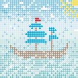 Mosaik ship vector. Easy Mosaic ship, vector pattern royalty free illustration