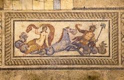 Mosaik von Poseidon und von Amphititre Stockfotos
