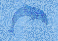 Mosaik wall with dolphin. Mosaik blue wall with dolphin stock photography