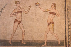 Mosaikdekoration der Ruinen des alten Landhauses Romana del Casale Lizenzfreie Stockfotos