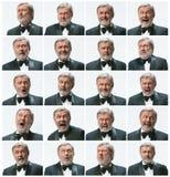 Mosaiken av att uttrycka för affärsman och olika sinnesrörelser Den skäggiga affärsmannen med dräkten med olika 20 Arkivfoto