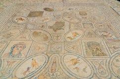 Mosaiken av Heraclesen tolv arbeten på romaren fördärvar av Volubilis nära Meknes, Marocko, Afrika Arkivbilder