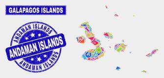 Mosaiken bearbetar översikten för Galapagos öar och bedrövar skyddsremsan för Andaman öar royaltyfri illustrationer