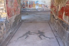 Mosaiker på Pompeii Arkivbild