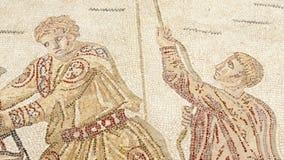 Mosaikfragment Roman Villa Romana del Casale, Sizilien, UNESCO-Welterbestätte stock video