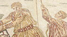 Mosaikfragment Roman Villa Romana del Casale, Sizilien, UNESCO-Welterbestätte stock video footage