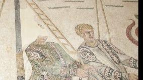 Mosaikfragment Roman Villa Romana del Casale, Sizilien, UNESCO-Welterbestätte Ken brennt Effekt stock video
