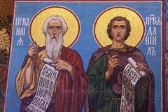 Mosaikikone in der russischen orthodoxen Kirche, Petersburg Stockfotos