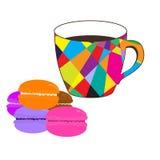 Mosaiktasse kaffee mit farbigen Makronen Lizenzfreies Stockfoto