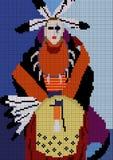 Mosaique avec le shaman indien illustration de vecteur