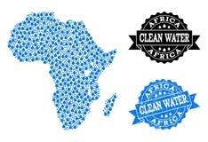 Mosaisk översikt av Afrika med vattenrevor och Grungestämpelskyddsremsan vektor illustrationer