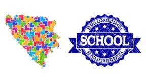 Mosaisk översikt av Bosnien och Hercegovina och texturerad skolaskyddsremsasammansättning vektor illustrationer