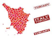 Mosaisk översikt av den Tuscany regionen och collage för Grungeskolaskyddsremsa vektor illustrationer