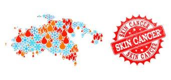 Mosaisk översikt av helgonet John Island av flamma- och snö- och hudcancernödlägeskyddsremsan vektor illustrationer