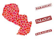 Mosaisk översikt av Paraguay och Grungeskolastämpelsammansättning stock illustrationer