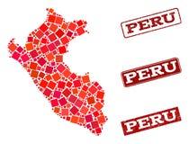 Mosaisk översikt av Peru och att bedröva skolastämpelsammansättning royaltyfri illustrationer