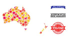 Mosaisk översikt för stjärna av Australien och Nya Zeeland och Grungevattenstämplar vektor illustrationer