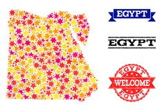 Mosaisk översikt för stjärna av Egypten och gummistämplar stock illustrationer