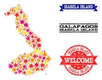 Mosaisk översikt för stjärna av Galapagos - Isabela Island och gummistämplar vektor illustrationer