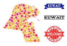 Mosaisk översikt för stjärna av Kuwait och gummistämplar vektor illustrationer