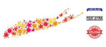 Mosaisk översikt för stjärna av Long Island och gummistämplar vektor illustrationer