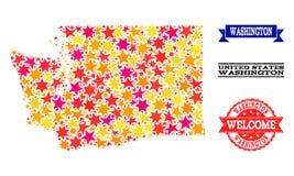 Mosaisk översikt för stjärna av Washington State och Grungevattenstämplar royaltyfri illustrationer