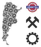 Mosaisk Argentina översikt av industriella hjälpmedel stock illustrationer