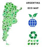 Mosaisk Argentina för vektorEco gräsplan översikt royaltyfri illustrationer