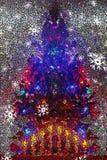 Mosaisk bakgrund för julgran för ferien stock illustrationer