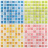 Mosaisk färgmarmor texturerar, belägger med tegel collage Arkivbild