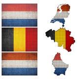 Mosaisk flagga och översikt av Benelux Royaltyfri Foto