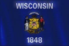 Mosaisk hjärtategelplattamålning av den Wisconsin flaggan royaltyfri illustrationer