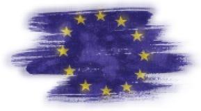 Mosaisk hjärtategelplattamålning av EU-flaggan stock illustrationer