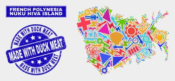 Mosaisk industriell Nuku Hiva ööversikt och nödläge som göras med Duck Meat Seal royaltyfri illustrationer