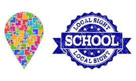 Mosaisk lokal ställe- och nödlägeskolaskyddsremsasammansättning stock illustrationer