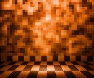 Mosaisk lokalbakgrund för orange schackbräde Arkivbild
