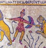 Mosaisk minnesmärkekyrka Moses Madaba Jordan för forntida 6th århundrade Arkivbilder
