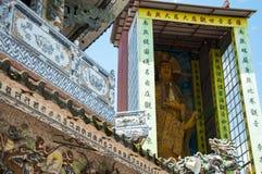 Mosaisk pagod Lin Phuoc i staden av Dalat Vietnam, en buddistisk tempel delningar arkivbild